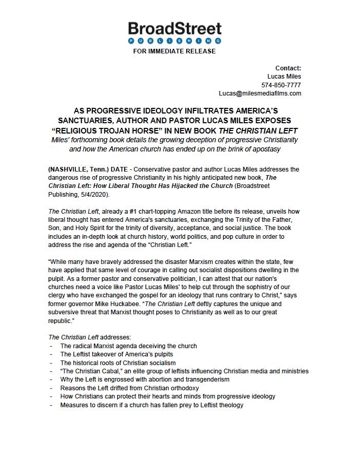 BroadStreet Publishing Press Release