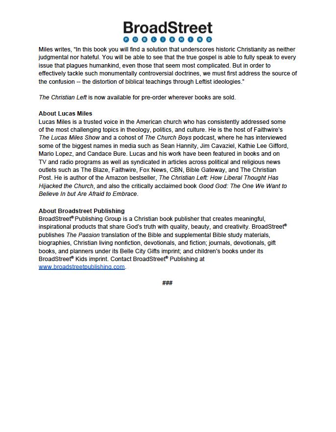 BraodStreet Publishing Press Release
